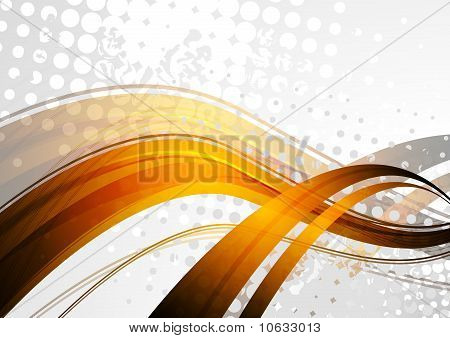 Golden Waves On Grey Background