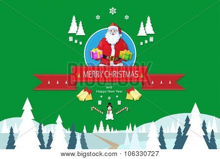 Santa Claus Greeting Card With Merry Christmas And Happy New Year Banner