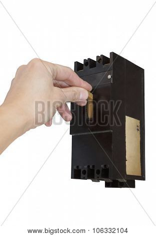 Turning off the electric circuit breaker . Isolated on white .