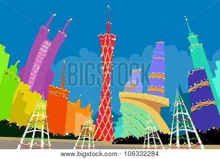 Guangzhou China Abstract Skyline City Skyscraper Christmas Silhouette New Year