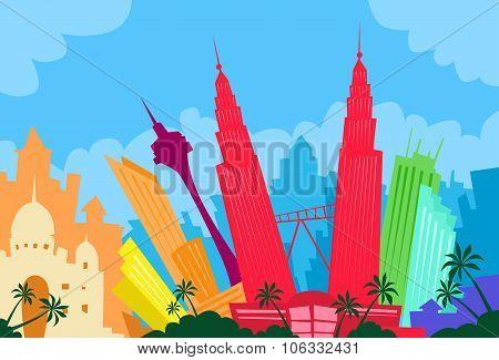 Kuala Lumpur Malaysia Abstract Skyline City Skyscraper Silhouette