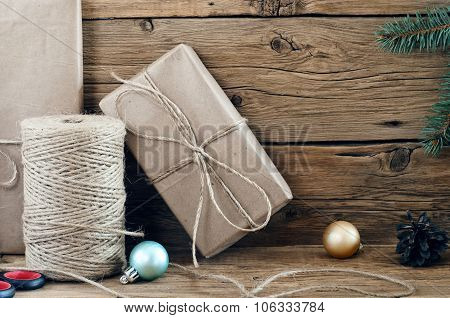 Christmas Present Handmade Wooden Background