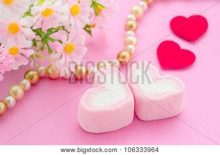 Pink Marshmallow Heart Shape.