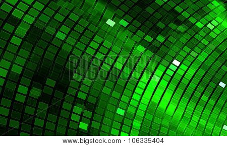 Abstract Mosaic Background. Bright Green Disco Fractal
