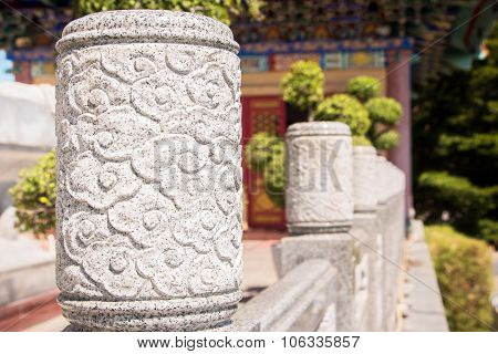 stones shaped that adorn the walls of the walk way in a Chinese temple.