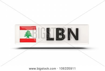 Square Icon With Flag Of Lebanon
