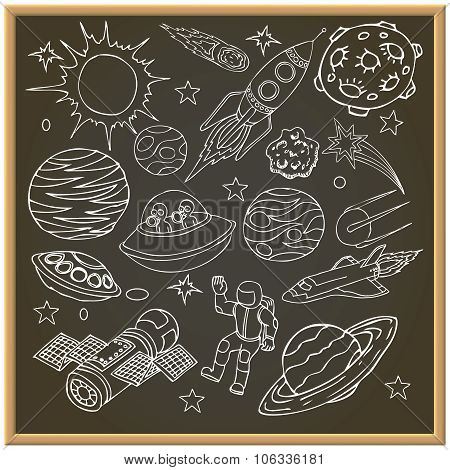 School chalk board with outer space doodles, symbols and design elements. Cartoon background. Hand d