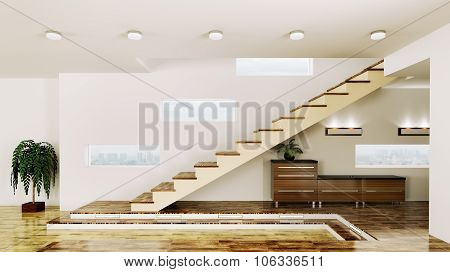 Interior Of  Hall With Staircase 3D Render