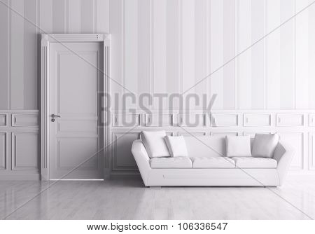 Interior With Door And Sofa 3d rendering