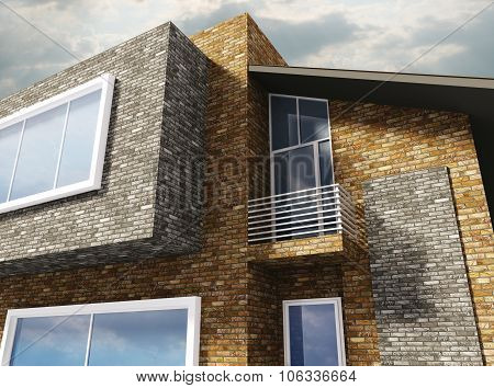 Exterior Of Modern House 3d rendering