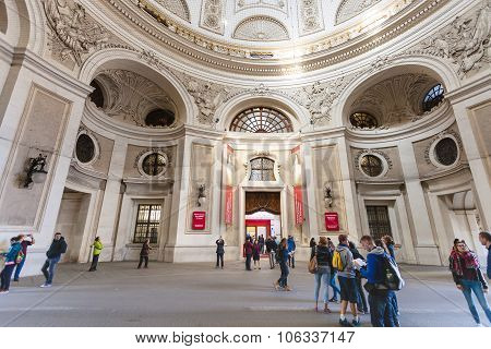 Tourist In Courtyard Of Hofburg Palace In Vienna