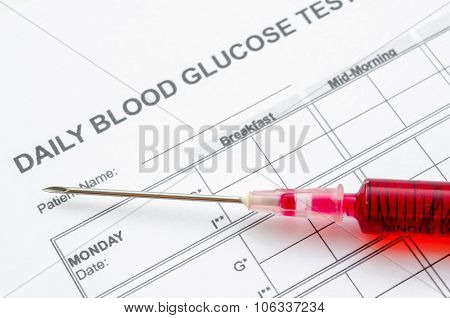 Daily Blood Glucose Testing And Sample Blood in Syringe.