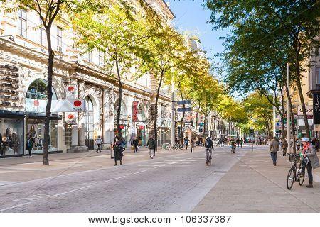 Shops On Mariahilferstrasse Street In Vienna