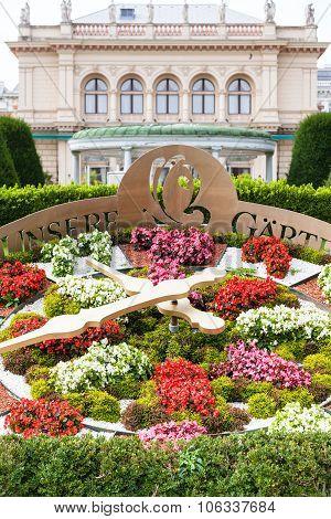 flower clocks in Stadtpark (City Park) Vienna