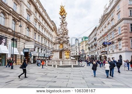 Tourists On Graben Vienna City