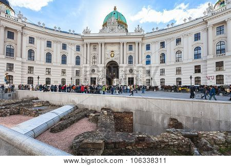 Ancient Roman Ruins On Michaelerplatz In Vienna