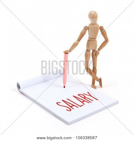 Wooden Mannequin Writing - Salary