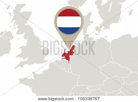 Netherlands On Europe Map