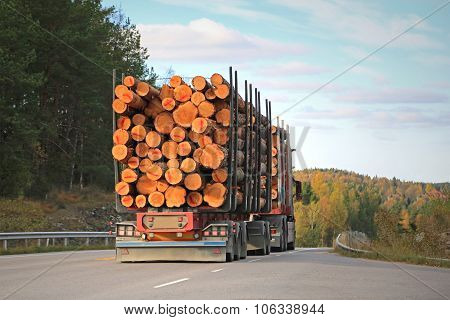 Logging Truck On Rural Road