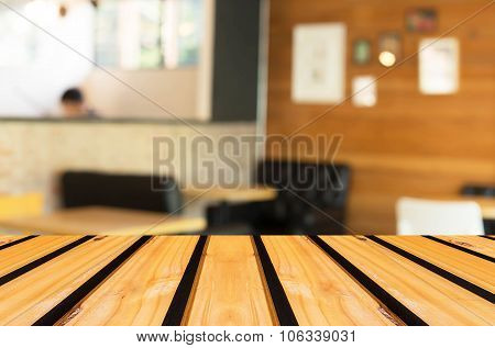 Selected Focus Empty Brown Wooden Table And Coffee Shop Blur Background With Bokeh Image For Your Ph