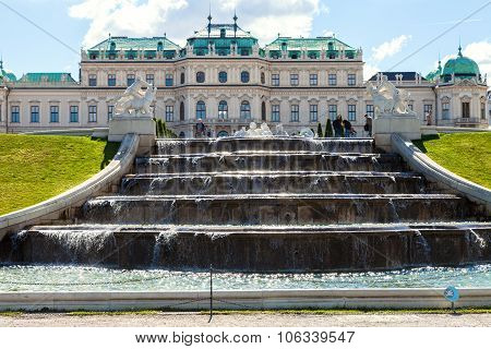 Upper Cascade And People Near Belvedere Palace