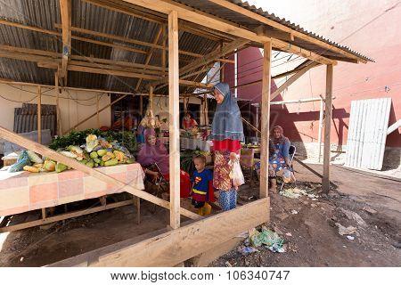 Indonesian Muslem Woman In Street Market, Manado