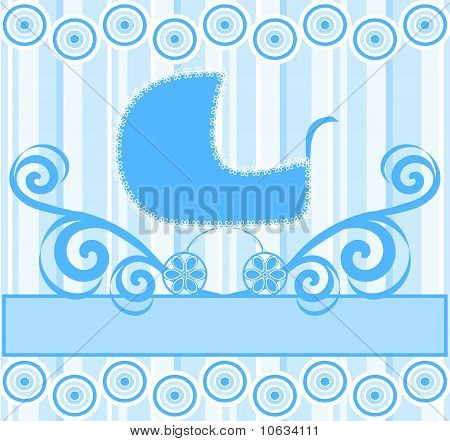 Vector Illustration Of A Cute Baby Boy Stroller On Blue Striped Background