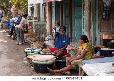 Hindu At The Traditional Street Market, Bali