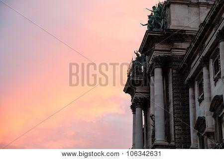 Pink Sunrise And Neue Burg Palace In Vienna
