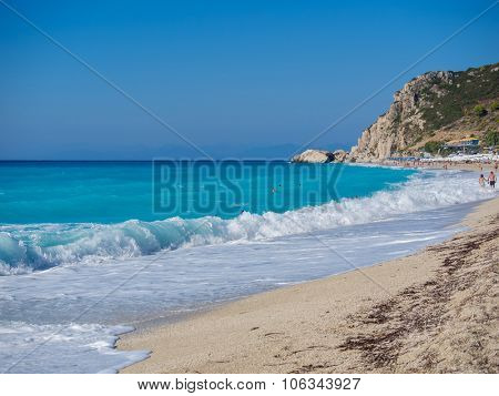 Kathisma Beach, Lefkada Island in Ionian Sea, Greece.
