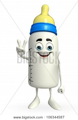 Baby Bottle Character With Victory Sign