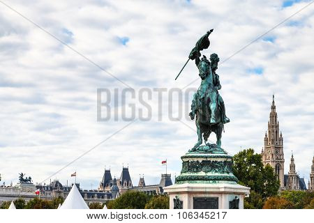 Statue Archduke Charles View Of Rathaus In Vienna