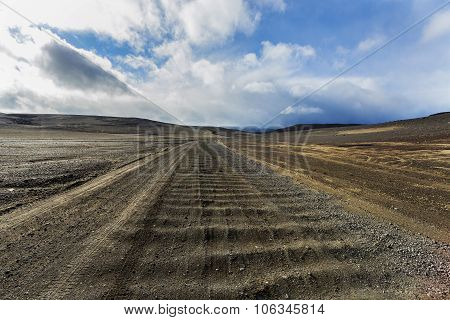 Dirt Road On The Askja, Wrinkling Path With Bumps