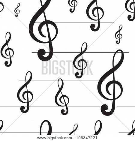 Seamless black treble clef