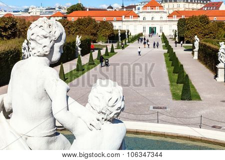 View Of Lower Belvedere Palace From Fountains