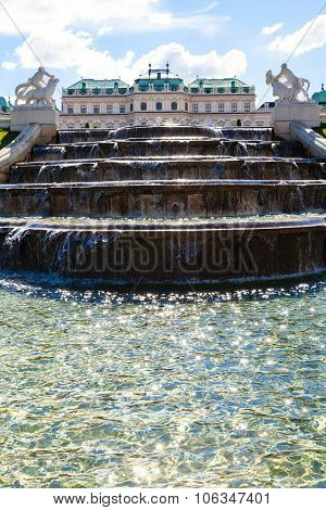 Cascade And View Of Upper Belvedere Palace, Vienna