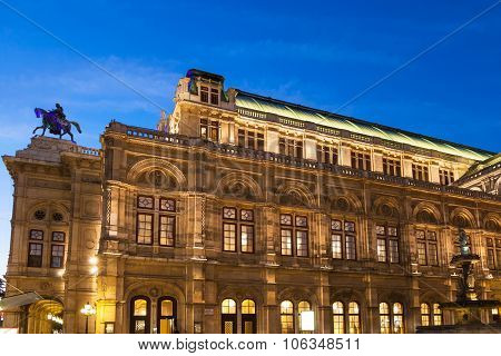 Vienna State Opera House From Ringstrasse In Night