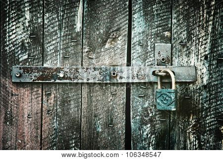 Locked Wooden Doors Close Up, Retro Style