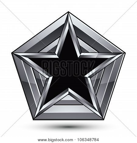 Silvery Blazon With Pentagonal Black Star, Can Be Used In Web And Graphic Design, Clear Eps 8 Vector