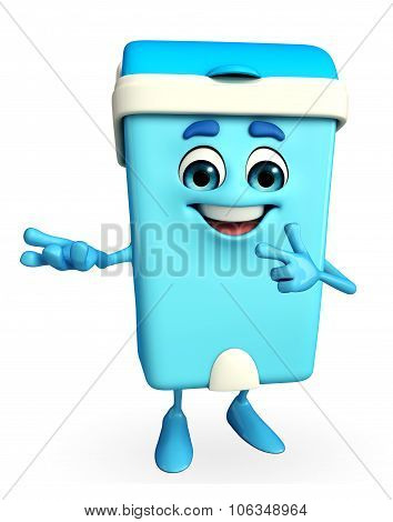 Dustbin Character With Presenting Pose