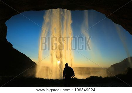 Seljalandsfoss Waterfall, Near Eyjafjallajokull Glacier In South Iceland.