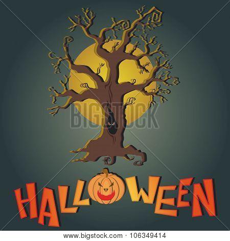 Vector post card for Happy Halloween