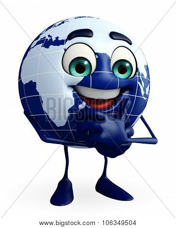 Globe Character With Thinking Pose
