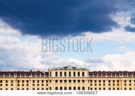 Storm Cloud In Blue Sky Over Schonbrunn Palace