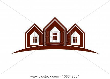 Abstract Houses With Horizon Line. Can Be Used In Advertising And Branding As A Corporate Vector Sym