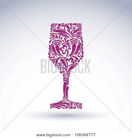 Creative Goblet With Floral Ethnic Vector Pattern, Relaxation And Alcohol Theme Object. Sophisticate