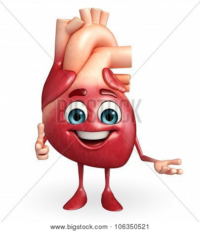 Heart Character With Happy Pose