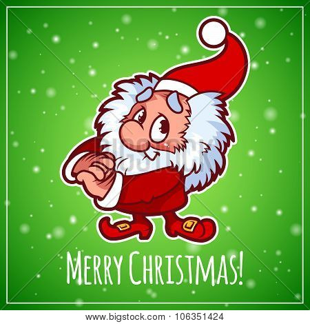 Card With Christmas Elf.
