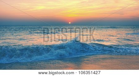 Sunset Twilight Dusk Beach Wave San Concept