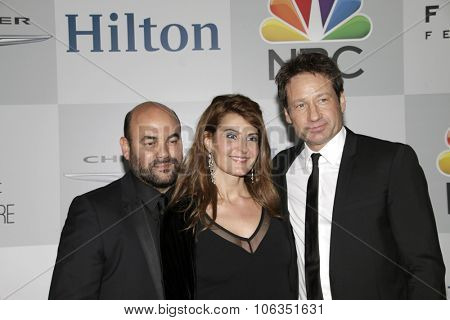 LOS ANGELES - JAN 11:  Nia Vardalos, Ian Gomez, David Duchovny at the NBC Post Golden Globes Party at a Beverly Hilton on January 11, 2015 in Beverly Hills, CA